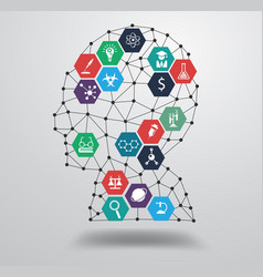 Science icon with human head vector image vector image
