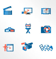 Video and photo tricolor flat icons vector image vector image