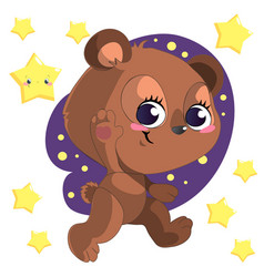 funny cute go bed cartoon bear clipart with vector image vector image