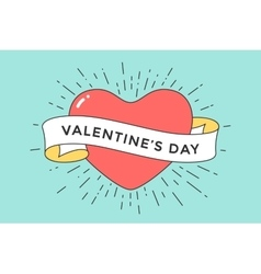 Old ribbon with message Valentine Day and red vector image vector image