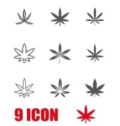 black marijuana icon set vector image