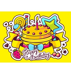 cake with candle sweets and ribbon with vector image