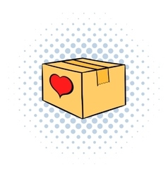 Cardboard box with heart icon comics style vector image vector image