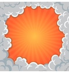 Cartoon smoke frame background clouds explosion vector