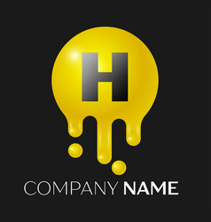 h letter splash logo yellow dots and bubbles vector image vector image