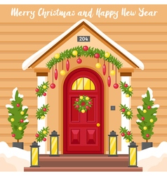 New Year Card With House Decorated For Christmas vector image vector image