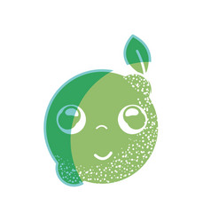 Silhouette kawaii nice happy lemon fruit vector