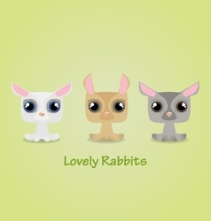 Cute funny lovely rabbits vector image