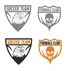 Football team crests set with eagle and skull vector