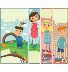 Four cute colorful banners with kids playing vector image vector image