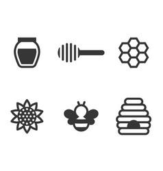 honey icon set vector image vector image