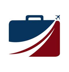 luggage and aeroplane travel logo vector image vector image
