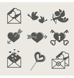 saint valentines day set icon vector image vector image
