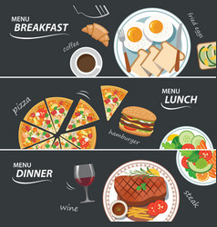 set of breakfast lunch and dinner web banner vector image vector image