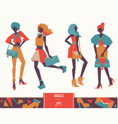 set of fashion girls with handbags color vector image