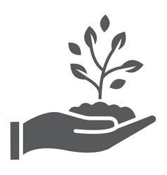 sprout in hand glyph icon farming and agriculture vector image vector image