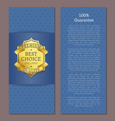 100 guarantee best choice for year exclusive label vector image