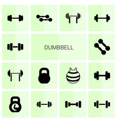 14 dumbbell icons vector