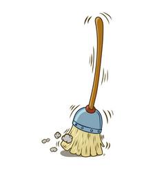 a cartoon broom sweeping by itself vector image