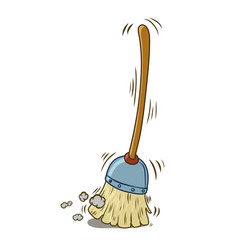 A cartoon broom sweeping itself vector