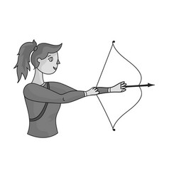 A girl stands in profile and holds the bow vector