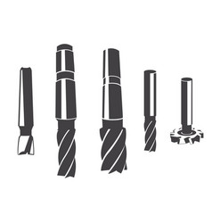 A set of various cylindrical milling cutter vector