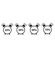 Alarm clock with percent sign round black icon vector
