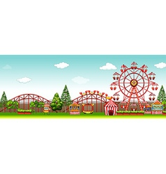 Amusement park at day time vector
