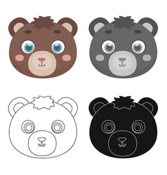 bear muzzle icon in cartoon style isolated on vector image