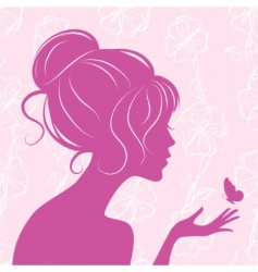 beauty girl silhouette with butterfly vector image