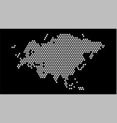 black and white hexagonal pixel map eurasia vector image