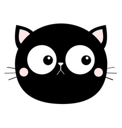 black cat head face round icon with big eyes pink vector image