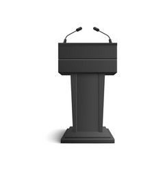 black stand tribune and podium with microphones vector image