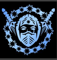 Blue emblem with ninja vector
