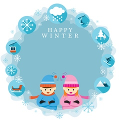 Boy and girl in winter season frame and label vector