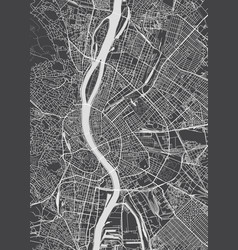 Budapest city plan detailed map vector