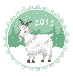 Card with grey-green snowflake and goat symbol of vector image