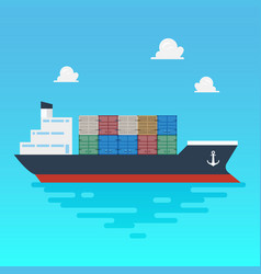 cargo shipping with containers flat style vector image