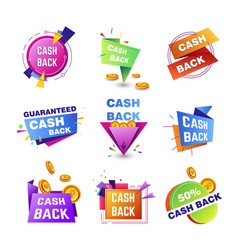 Cashback bonuses banner tags for shopping vector