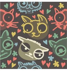 Cat line art background vector image