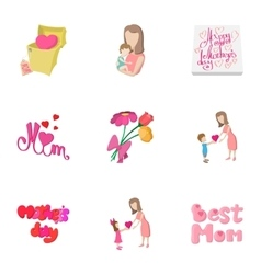 Celebration mothers day icons set vector