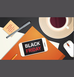 Cell smart phone with black friday message over vector