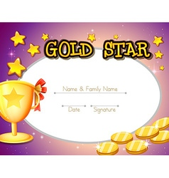 Certificate design with golden coins and trophy vector