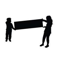 children silhouette hold card vector image
