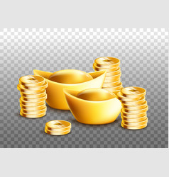 Chinese ingots and stacks golden coins isolated vector