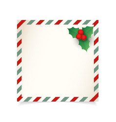 christmas vintage letter or postcard template vector image