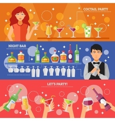 Cocktail Party Night Bar Flat Banners vector