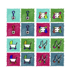 Collection of flat shading style icons kids toys vector