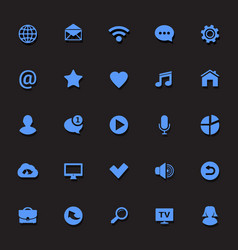 communication blue icons vector image