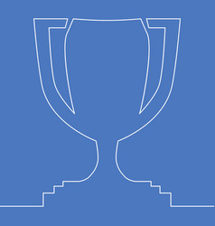 Continuous one single line winner trophy concept vector